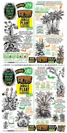 Kicking off a MONTH of Monkey Nuts-themed tutorials today, to celebrate the MONKEY NUTS 2 KICKSTARTER! Today we're looking at how to draw JUNGLE PLANT CLUSTERS. If you want MORE form this world, ch...