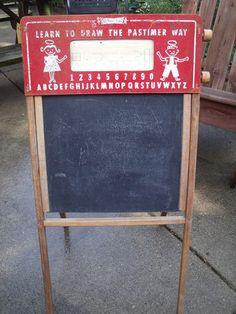 Vintage Childrens Display Blackboard Easel