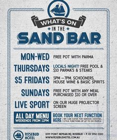 """⚓️WHAT'S ON in the SAND BAR⚓️ @rosebudhotel #potandparma #localsnight #freepool #mealdeals #fivedollarfridays #beerspecials #livesport #events #functions #sandbar #whatson #bestpub #rosebudpub #peninsula #morningtonpeninsula #entertainment #liveafl #bar #beverages"" by @rosebudhotel. #이벤트 #show #parties #entertainment #catering #travelling #traveler #tourism #travelingram #igtravel #europe #traveller #travelblog #tourist #travelblogger #traveltheworld #roadtrip #instatraveling #instapassport…"