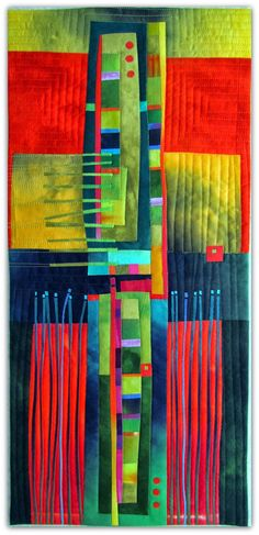 """Melody Johnson Autumn Hues Hand dyed cottons, fused, machine quilted 11.5 x 23"""""""
