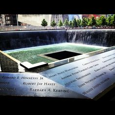 World Trade Center 9/11 Memorial. What an experience. The rush of water vividly brings back the surreal images of the towers imploding. Pray we never, ever forget that act of war.