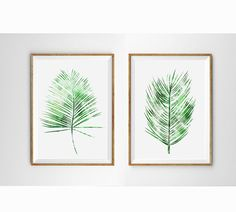Spring Art White and Green Fern watercolor Leaves palms wall art Nature Botanical Art Minimalist Modern Home decor plants Art Tropical Art