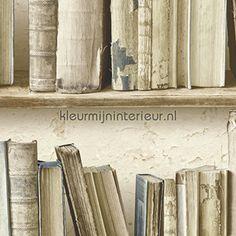 Oude boeken tegen gebladderde muur behang SD3533, Splendour van Hookedonwalls Leroy Merlin, Library Books, Bookshelves, Floating Shelves, Bookends, Neutral, Wallpaper, House, Inspiration