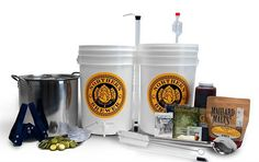 Homebrew 5 Gallon Beer Brewing Starter Recipe Kit and Brew Kettle (Block Party Amber) This all-in-one kit includes everything you need to start brewing today including a Brew Kettle and our Block Party Amber Ale recipe kit. Beer Brewing Kits, Brewing Recipes, Homebrew Recipes, Beer Recipes, Unique Gifts For Boyfriend, Ale Recipe, Beer Ingredients, Homemade Beer, Ale