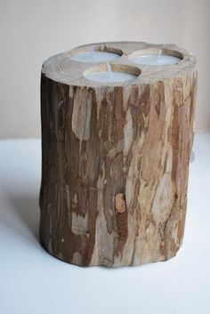 Wood Candle Holder 3 Votive Candles Winter Home by NatureBound