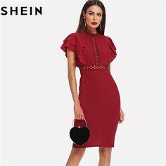 d2a14bdca90 Burgundy Red Vintage Ruffle Sleeve Bodycon Dress Elegant Retro Party Lace  Eyelet Hem Slit Dresses Sumo