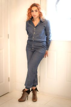 Denim fashion pant jumpsuit. Pair it with a blazer or jacket for a business look. Great women's outfit style that you can transition from summer to winter