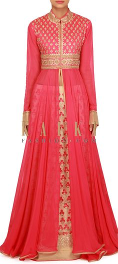 Rani pink long top with resham embroidered lehenga only on Kalki