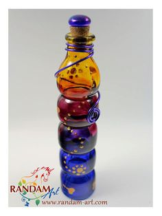 Painted Glass Bottle Reed Diffuser or Oil Lamp Candle by RandamArt