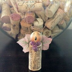Angel wine cork Christmas ornament or can use to make fairys as well
