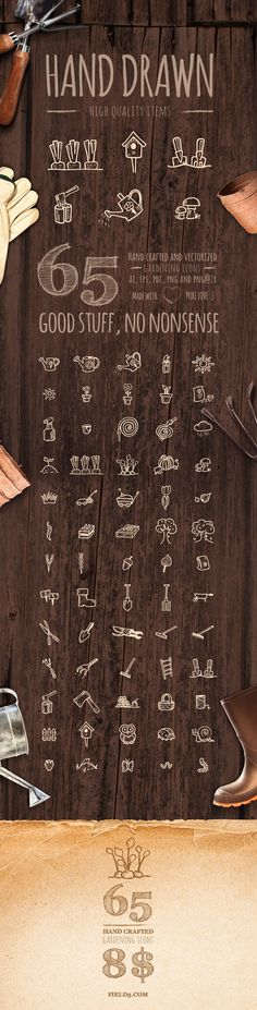Gardening Icons - 65 hand drawn by field5.com #icons #design #resources