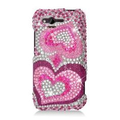 Rhinestones Protector Case for HTC Rhyme, Two Pink Hearts Silver Full Diamond:Amazon:Cell Phones & Accessories