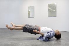 """Tony Matelli, Josh, 2010, silicone, steel, hair, urethane, clothing, 30 x 74 x 22"""""""