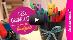 [VIDEO]: Desk Organization on a Budget (Part 2 of 4 Dollar Store Organizing)  Watch here-> http://www.alejandra.tv/blog/2015/02/video-desk-organization-budget-part-2-4-dollar-store-organizing/?utm_source=Pinterest&utm_medium=Pin&utm_content=DeskBudgetPart2&utm_campaign=WeeklyVideo