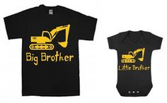 Big Brother / Little Brother t-shirt and baby bodysuit combo SET of two with Digger / construction theme brother shirts / siblings