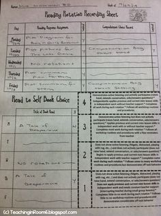 Recording sheet to keep your students organized during reading rotations in an upper elementary classroom (plus a blog series describing how to go about it in the upper elementary grades)