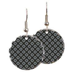 Pretty Grey CrissCross Pattern Earring on CafePress.com