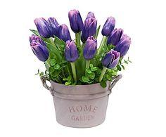Centro de tulipanes en base