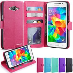 Grand Prime Case LK Galaxy Grand Prime Wallet Case Luxury PU Leather Case Flip Cover with Card Slots Stand For Samsung Galaxy Grand Prime HOT PINK