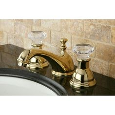 Add a distinctive design element to your bathroom with this crystal-handle widespread faucet. This faucet includes the matching drain and necessary mounting hardware.