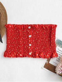 a4af71e447 Rosso Red Standard Floral Strapless Short Fashion Floral Print Bandeau  Smocked Tube Top Top P