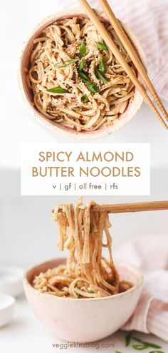 Delicious spicy almond butter noodles made in under 10 minutes. Perfect for dinner or lunch, and you can customize with your favourite veggies and plant proteins. This recipe is vegan, gluten-free, oil free and refined sugar free. Noodle Recipes, Spicy Recipes, Vegetarian Recipes, Cooking Recipes, Healthy Recipes, Flour Recipes, Vegan Gluten Free, Gluten Free Recipes, Spicy Almonds