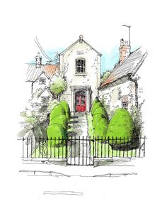 Drawing with fat fingers and a fine pen. Landscape Sketch, Landscape Drawings, Landscape Illustration, Watercolor Landscape, Watercolor Illustration, Landscape Paintings, Architecture Concept Drawings, Watercolor Architecture, Pen And Watercolor