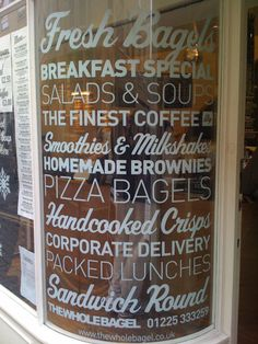 Different typeface could be used to list our product line on a glass window, echoing the handrails on the counter at Chelsea Market.