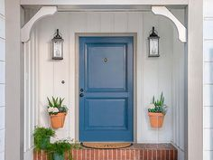 Refresh your home's entrance with a new front door color. Maybe it's the thing that unlocks a new side of your home to you! Front Door Paint Colors, Painted Front Doors, Front Door Design, Exterior Doors, Entry Doors, Entryway, Front Entry, Door Stripping, Shutter Colors