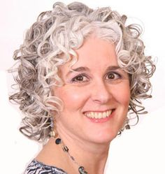 Naturally grey curly hair, front. Pretty!