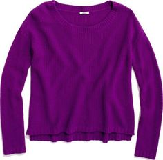 Madewell Wallace Honeycomb Sweater Purple High-Low Boxy Slouchy Wool J.CREW M #Madewell #ScoopNeck
