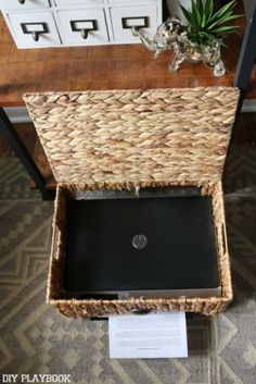 How to hide a printer - stack on top of wicker chest with litter box in guest room