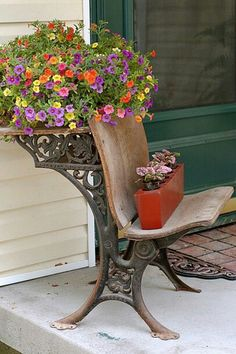 Vintage school desk in bloom., I have one of these desks, good idea for use of it