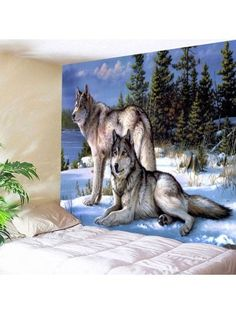 Snow Wolf Wall Art Hanging Throw Fabric Tapestry