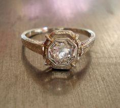 Antique Art Deco Diamond Engagement Ring by AntiqueSparkle on Etsy, $835.00