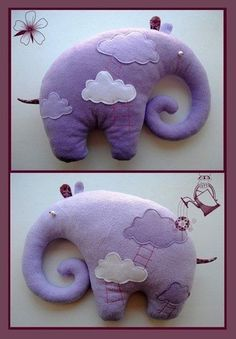 Plush elephant attracts with its lovely appearance. This simple to manufacture toys like both boys and girls. Stuffed Animal Patterns, Diy Stuffed Animals, Deco Elephant, Purple Elephant, Funny Elephant, Elephant Throw Pillow, Baby Mobile, Fabric Toys, Sewing Dolls