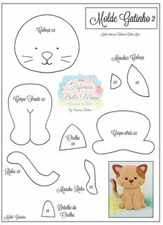 felt toys New Sewing Toys Patterns Christmas Ideas Felt Animal Patterns, Stuffed Animal Patterns, Stuffed Animals, Felt Templates, Applique Templates, Applique Patterns, Card Templates, Felt Cat, Cat Crafts