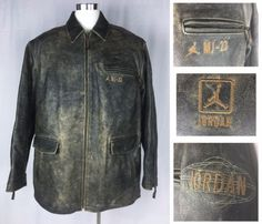 58612d7f1baf19 Distressed Leather MJ Michael Jordan Air Men Jacket XXXL 3XLT 23 Shoe VTG