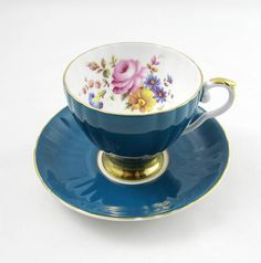 Royal Grafton Blue Tea Cup and Saucer with Flowers Vintage