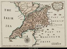 plât 9 History Of Wales, Cymru, Vintage World Maps