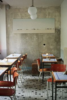 Cafe Johanna | Hamburg, Germany black/white tile floor, concrete wall, cool, clean, warm wood chairs