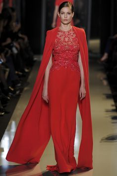 The Chic hot pink Cape Dress at Elie Saab Spring Summer Couture 2013 #HauteCouture #HC #Fashion