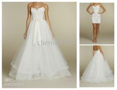 Wholesale A-Line Wedding Dresses - Buy White/Ivory Detachable Skirt Lace Wedding Dress A Line Chapel Bridal Dresses, $159.99 | DHgate
