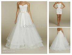 Wholesale A-Line Wedding Dresses - Buy White/Ivory Detachable Skirt Lace Wedding Dress A Line Chapel Bridal Dresses, $159.99   DHgate