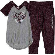 Mississippi State Bulldogs Colosseum Girls Youth Watercolor Tunic & Capris Set - Gray/Maroon