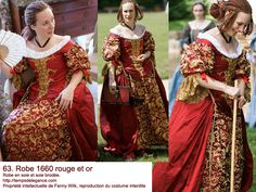 Red and gold 1860's dress   http://tempsdelegance.com