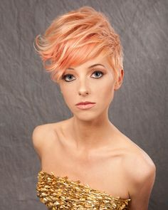 Great short cut with lovely peachy color.