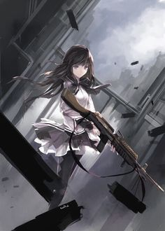 """This has a texture look to it peoples! But I love the concept of this picture. I like how she gazes at the viewer with a """"oh. Hey."""" But is holding a deadly weapon. The falling city adds to the darker more end of the world like effect and the texture really does seem to make it look like it was falling apart at the seams."""