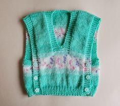 Melika self-patterning yarn baby vest top