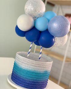 1st Birthday Party For Girls, Birthday Cake, Baby Shower Games, Baby Boy Shower, Bolo Frozen, Balloon Cake, Dream Cake, Fancy Cakes, Baby Shower Printables